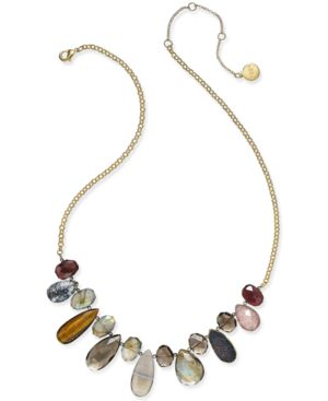 Paul & Pitu Naturally 14k Gold-Plated Genuine Stone Bib Necklace