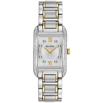 Bulova Diamond Accent Two-Tone SS Womens Bracelet Watch