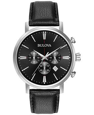 Bulova Men's Chronograph Dress Black Leather Strap Watch 41mm 96B262
