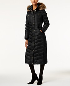 Michael Michael Kors Petite Faux-Fur Hooded Maxi Down Coat