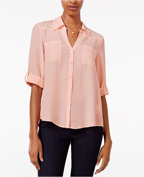 Sleeve Pink Shirt BCX Juniors' Tab OqEOF7