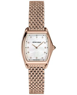 Emporio Armani Men's Swiss Automatic Classic Diamond Accent Rose Gold-Tone Stainless Steel Mesh Bracelet Watch 28x30mm ARS7701