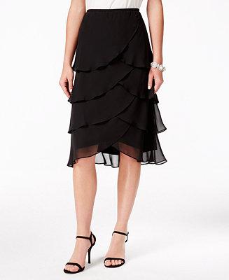 MSK Tiered Chiffon Tulip Skirt - Skirts - Women - Macy's