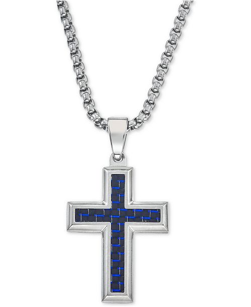 Esquire Men's Jewelry Pendant Necklace in Navy Blue Carbon Fiber Cross,Tungsten Carbide and Stainless Steel, Created for Macy's