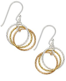 Tri-Tone Interlocking Circle Drop Earrings in Sterling Silver, Gold-Plated Sterling Silver and Rose Gold-Plated Sterling Silver, Created for Macy's