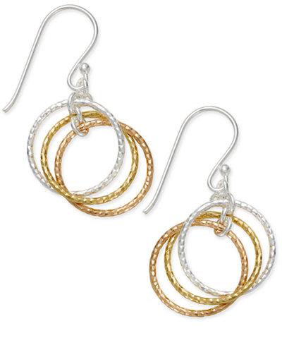Giani Bernini Tri Tone Interlocking Circle Drop Earrings In Sterling Silver Gold Plated