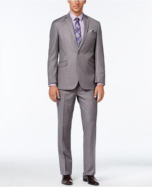 Kenneth Cole Reaction Men's Slim-Fit Medium Gray Textured Suit