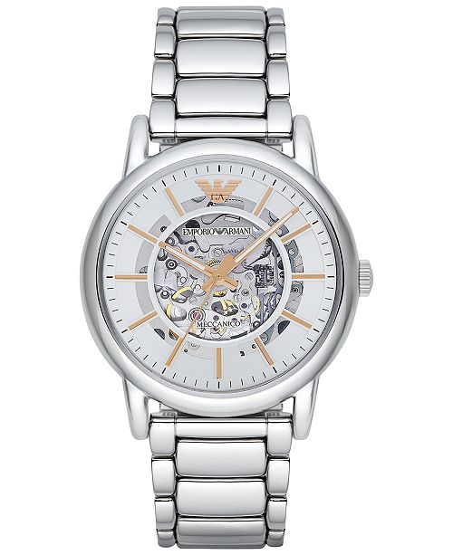 Emporio Armani Men's Automatic Luigi Stainless Steel Bracelet Watch 43mm AR1980