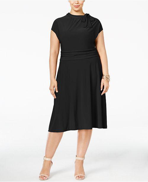 Love Squared Trendy Plus Size Tie-Neck A-Line Dress