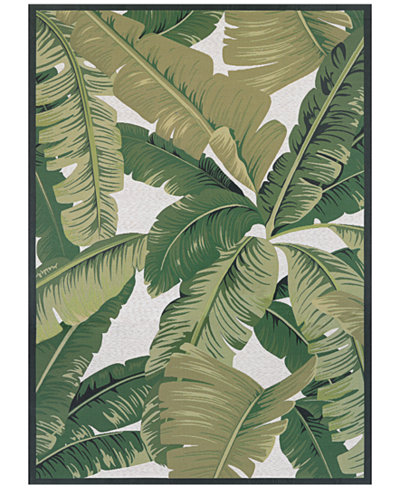 Couristan Dolce Indoor/Outdoor Palm Lily Hunter Green-Ivory 2'3
