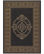 CLOSEOUT! Couristan Recife Indoor/Outdoor Antique Medallion Black-Cocoa Area Rugs