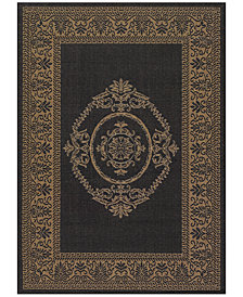"CLOSEOUT! Couristan Recife Indoor/Outdoor Antique Medallion Black-Cocoa 7'6"" Round Area Rug"