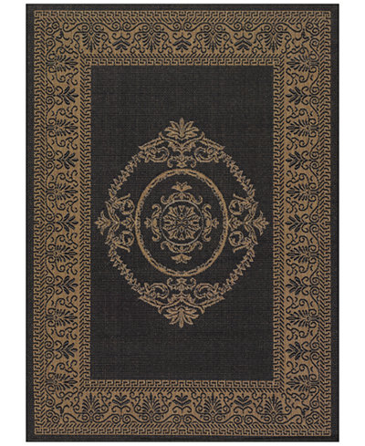 CLOSEOUT! Couristan Recife Indoor/Outdoor Antique Medallion Black-Cocoa 8'6