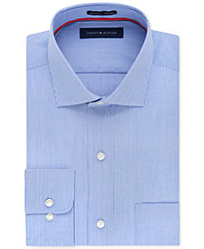 Tommy Hilfiger Men's Big & Tall Classic-Fit Non-Iron Blue Fine Stripe Dress Shirt