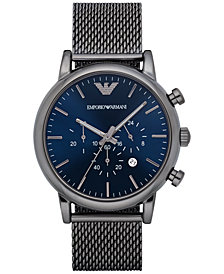 Emporio Armani Men's Chronograph  Gunmetal Stainless Steel Mesh Bracelet Watch 46mm AR1979