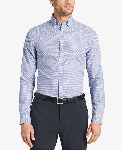 2e162c4ea1bc Tommy Hilfiger Slim-Fit Non-Iron Blue Check Dress Shirt   Reviews ...