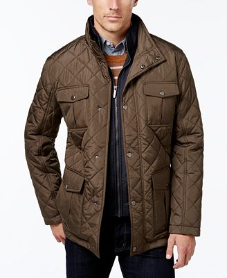 London Fog Men's Corduroy-Trim Layered Quilted Jacket - Coats ...