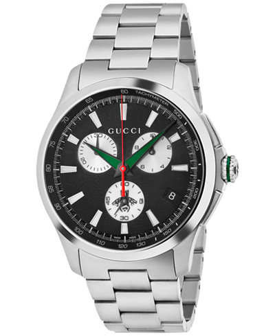 Gucci Men's Swiss Chronograph G-Timeless Stainless Steel Bracelet Watch 44mm YA126267