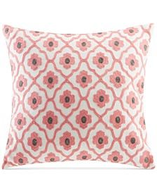 "Sterling Embroidered Floral-Medallion 18"" Square Decorative Pillow"