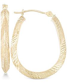 Patterned Pear-Shape Hoop Earrings in 10k Gold