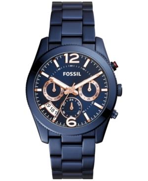 Fossil WOMEN'S PERFECT BOYFRIEND BLUE STAINLESS STEEL BRACELET WATCH 39MM ES4093