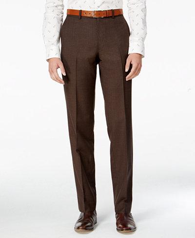 Bar III Men's Slim-Fit Brown Mini-Check Dress Pants, Created for ...