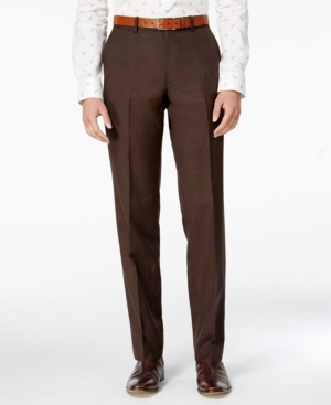 Men's Vintage Style Pants, Trousers, Jeans, Overalls Bar Iii Mens Slim-Fit Brown Mini-Check Dress Pants Only at Macys $49.99 AT vintagedancer.com