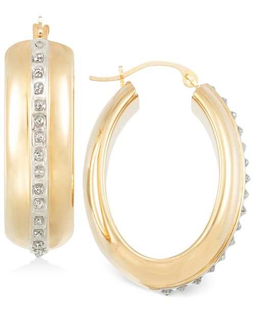 Wide Hoop Earrings in 14k Gold over Resin Core Diamond and Crystallized Diamond Dust
