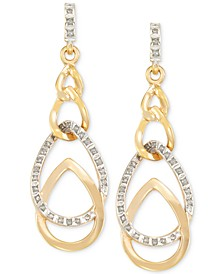 Interlocked Teardrop Drop Earrings in 14k Gold over Resin Core Diamond and Crystallized Diamond Dust