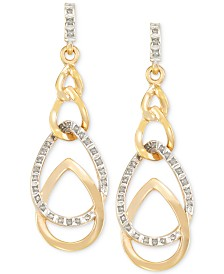 Signature Diamonds™ Interlocked Teardrop Drop Earrings in 14k Gold over Resin Core Diamond and Crystallized Diamond Dust