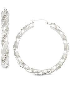 Signature Diamonds™ Twist Hoop Earrings in 14k Gold over Resin Core Diamond and Crystallized Diamond Dust