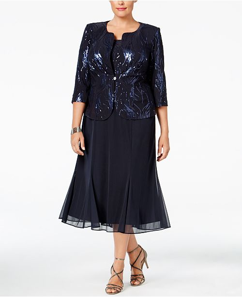 929ca8d5dc689 Alex Evenings Plus Size Sequined Chiffon Dress and Jacket   Reviews ...