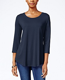 Petite Three-Quarter-Sleeve Top, Created for Macy's
