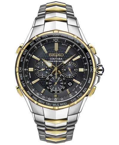Seiko Men's Coutura Radio Sync Solar Chronograph Two-Tone Stainless Steel Bracelet Watch 45mm SSG010
