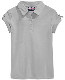 Nautica School Uniform Bow-Sleeve Polo, Little Girls