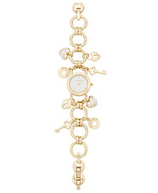 Women's Gold-Tone Key Charm Bracelet Watch 26mm, Created for Macy's