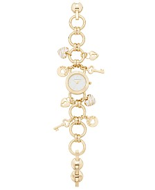 Charter Club Women's Gold-Tone Key Charm Bracelet Watch 26mm, Created for Macy's