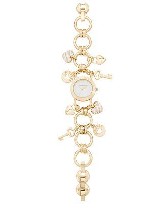 Charter Club Women's Gold-Tone Key Charm Bracelet Watch 26mm, Only at Macy's