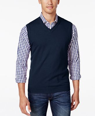 Club Room Men's V-Neck Sweater Vest, Created for Macy's - Sweaters ...