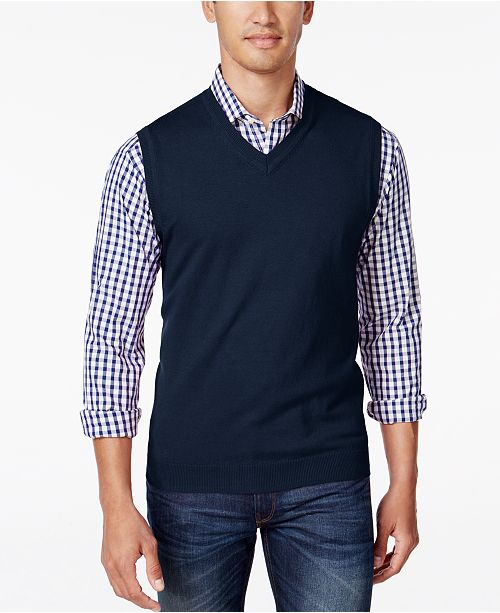 Club Room Men's V-Neck Sweater Vest, Created for Macy's