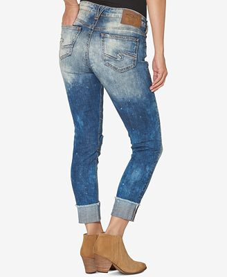 Silver Jeans Ripped Medium Blue Wash Girlfriend Jeans - Jeans ...