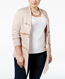 Plus Size Zip-Trim Striped Cardigan