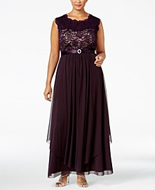Plus Size Embroidered Lace A-Line Gown