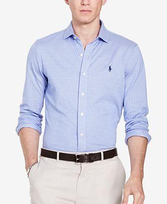 Polo Ralph Lauren Men's Herringbone Knit Dress Shirt - Casual ...