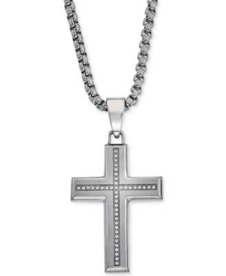 Esquire Mens Jewelry Diamond Cross Pendant Necklace 16 ct tw