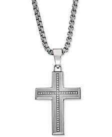 Diamond Cross Pendant Necklace (1/6 ct. t.w.) in Stainless Steel, Created for Macy's
