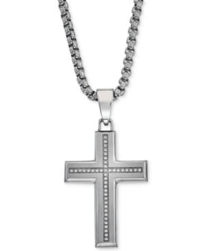 Diamond Cross Pendant Necklace (1/6 ct. t.w.) in Stainless Steel
