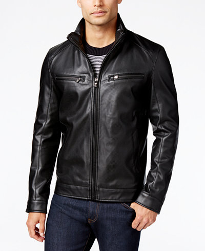 Michael Kors Men's Perforated Faux-Leather Moto Jacket - Coats ...