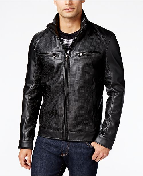 885030aa8 Michael Kors Men's Perforated Faux-Leather Moto Jacket, Created for Macy's