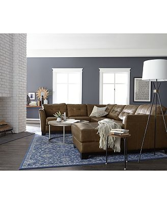 Living Room Leather Sectionals martino leather sectional living room furniture collection